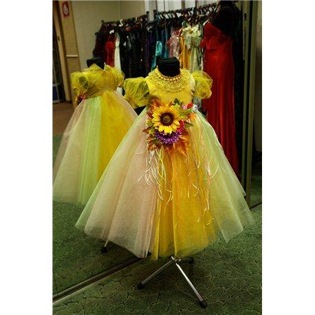 Карнавальное платье для девочки Хризантема, Осень золотая с композицией 3-4 0605