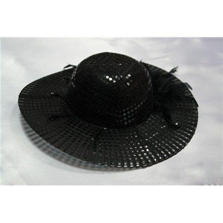 Карнавальная шляпка черная с пайетками 0568