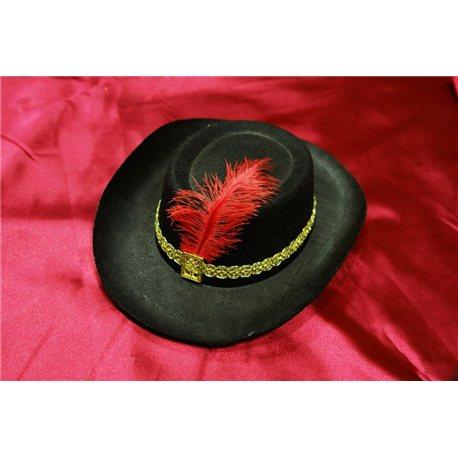 Карнавальная шляпа Мушкетера детская черная с пером 0557