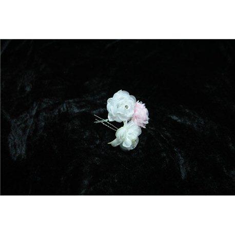 Шпильки для волос шифоновые розы (белые, бежевые, розовые) 0710