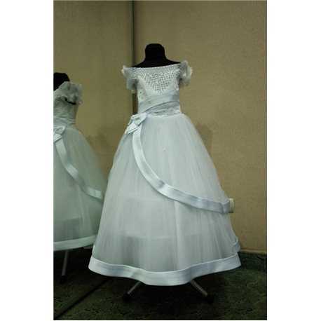 Детское нарядное платье Ираида с рукавом белое 0626
