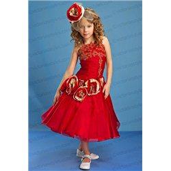 Великолепное красное платье с золотом 3882
