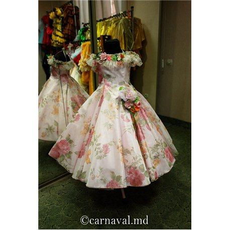 Детское нарядное платье Весна розовая трапеция 5-6 1014