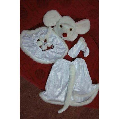 Детский карнавальный и маскарадный костюм Мышка белая на девочку 3-4 года 1831