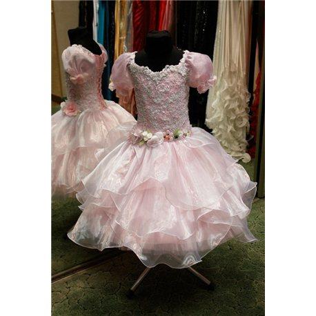 Детское нарядное платье Весна бело-розовая с рукавами 5-6 0975