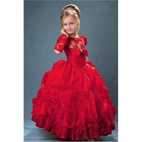 Изумительно красное платье с гипюром 6-7 лет 0393
