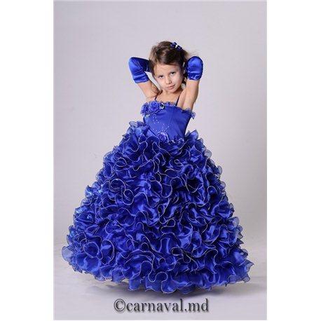 Детское нарядное платье для девочки синее на 3-4 года 0856