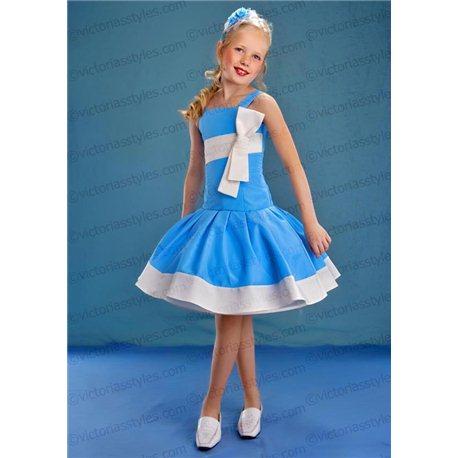 """Платье для девочки """"Альба"""" голубое с белым бантом 4404"""
