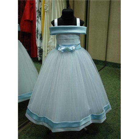 Нарядное голубое платье Валентино на 7-8 лет р.36 1113