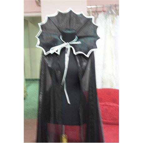 Карнавальный Плащ черного цвета воротник с зубчиками и серебреной бейкой 2595, 2586
