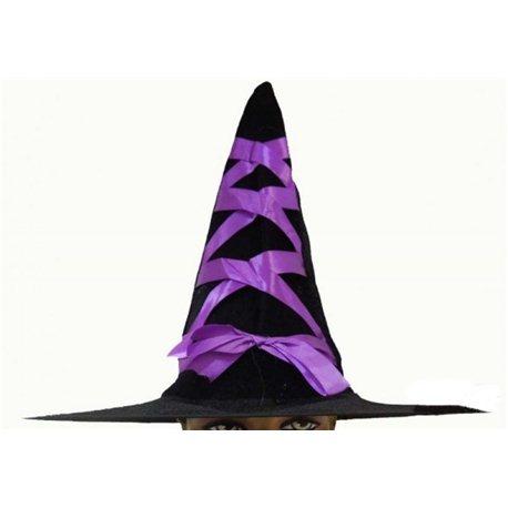 """Карнавальная шляпа """"Ведьма """"с сиреневыми,желтыми и зелеными завязками 0987, 1071, 1072"""