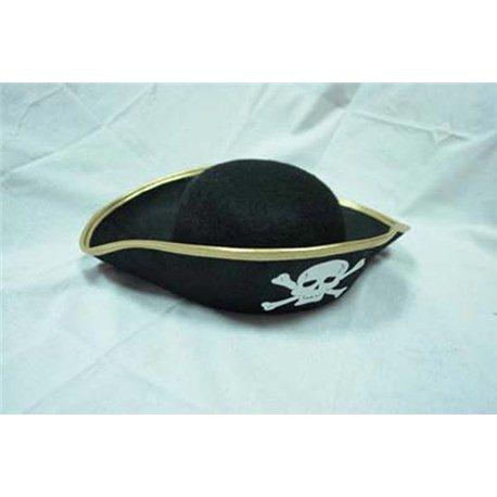 """Карнавальная шляпа """"Пирата"""" черная триуголка с золотом маленькая 0980"""