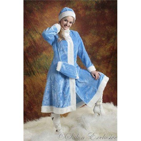 Взрослый карнавальный костюм Снегурочка из голубого меха , 3455, 3456