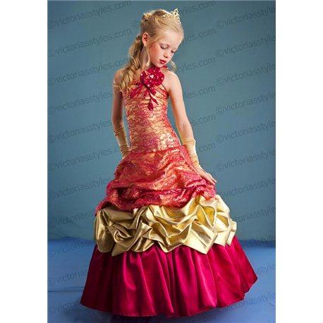 Шикарное золотое с малиновым платье 4407