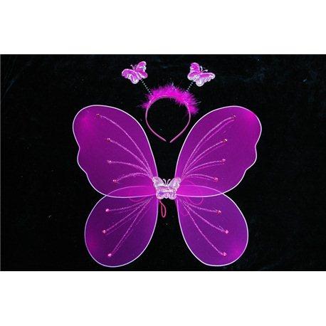 Крылья бабочки набор малиновые (крылья, обруч) 0871