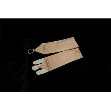 Перчатки для девочек до локтя персиковые 3052