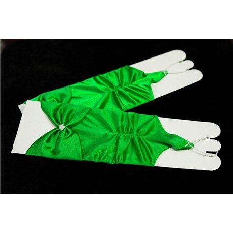 Перчатки детские до локтя зеленые 2738