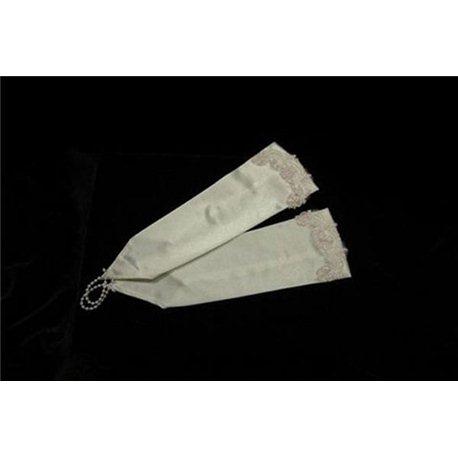 Перчатки для девочек до локтя бежевые 3062
