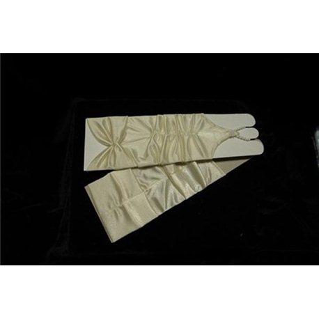 Перчатки для девочек до локтя бежевые 3070