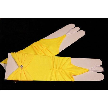 Перчатки для девочек до локтя желтые 2745