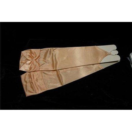 Перчатки для девочек, без пальцев, выше локтя, блестящие, с бантом персиковые 3016