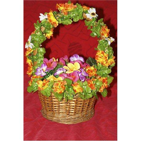Карнавальные принадлежности корзина круглая (весенние цветы, овощи) 2766