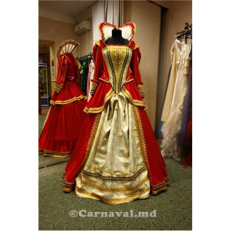 Взрослый карнавальный костюм Елизавета из красного бархата 2588