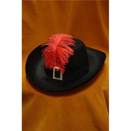 Карнавальная шляпа Мушкетера детская черная с пером 1075