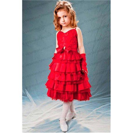 Детское гипюровое платье красного цвета 1461