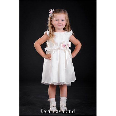 Детское элегантное платье белого цвета на 4 года 3024