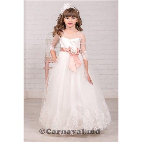 Нежное платье с завышенной талией и поясом 2423