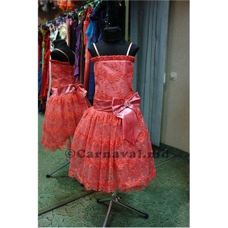 Гипюровое платье кораллового цвета 2420