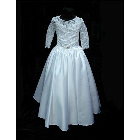 Платье для девочек белое, корсет гипюр 3060