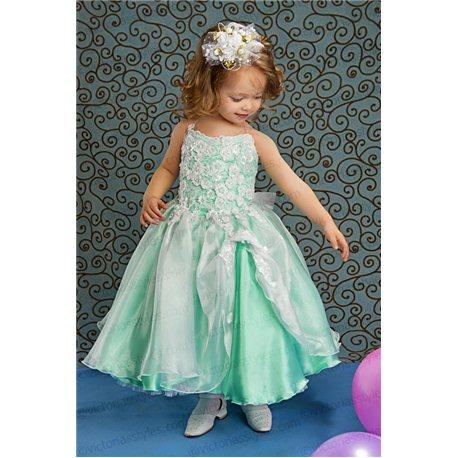 Нарядное платье для девочки салатовое 3843