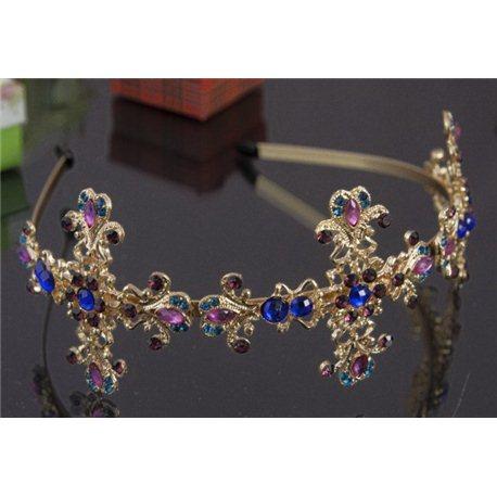 Корона золото с разноцветными камнями10893