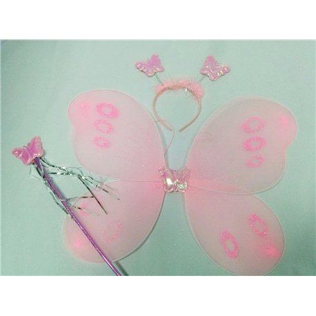 Крылья бабочки набор розовые (крылья, палочка, обруч)877