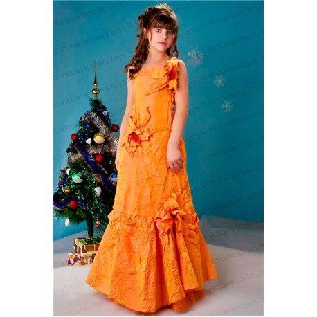 Детское нарядное платье Орхидея оранжевая 2334
