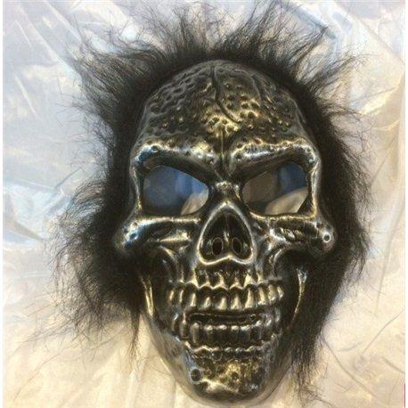 Маска скелета с волосами серебро10908