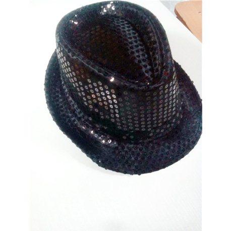 Шляпа черная в пайетках 10909