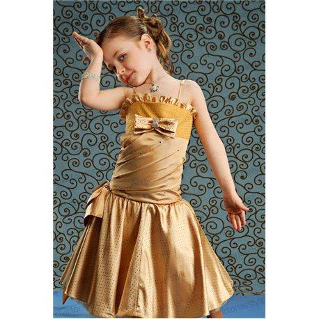 Нарядное золотое платье для девочки до колен 2828