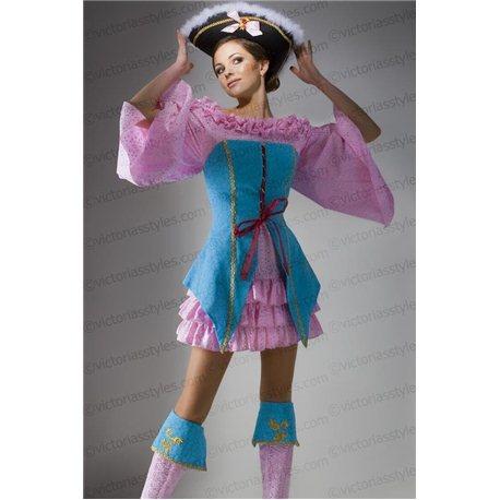 Взрослый Карнавальный Костюм Пиратка бирюзово-розовая Розалинда 3170