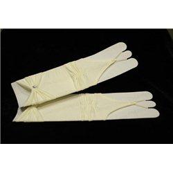 Перчатки для девочек без пальцев, до локтя, матовые, гофрированные, с бантом, цвета слоновой кости 4495