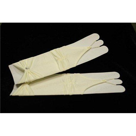 Mănuși pentru fetiţe din satin, fără degete, până la cot, mate, ondulate, cu fundiță, de culoare ivory 4495