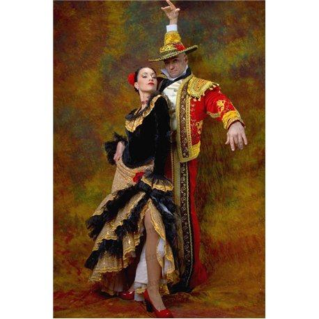 Взрослый Карнавальный Костюм Испанка с золотой юбкой 2573