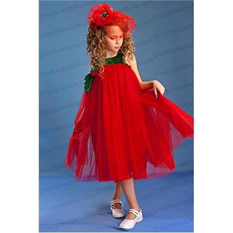 Карнавальный костюм для девочки Мак, Тюльпан, Помидор 4243