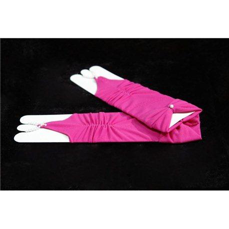 Mănuși pentru fetiţe fără degete, până la cot, mate, ondulate, cu fundiță, de culoare zmeurie 4035