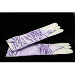 Mănuși pentru fetiţe din satin, fără degete, până la cot, lucioase, ondulate, cu fundiță, de culoare lilac 4447