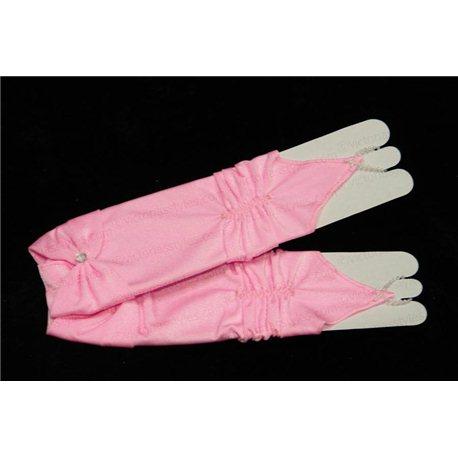 Перчатки для девочек, без пальцев, до локтя, матовые, гофрированные, с бантом, ярко- розового цвета 4448