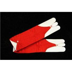 Mănuși pentru fetiţe fără degete, până la cot, mate, ondulate, cu fundiță, de culoare roșie 4496