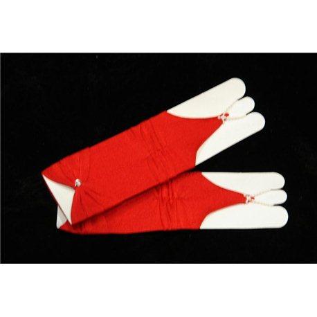 Перчатки для девочек, без пальцев, до локтя, матовые, гофрированные, с бантом, красного цвета 4496